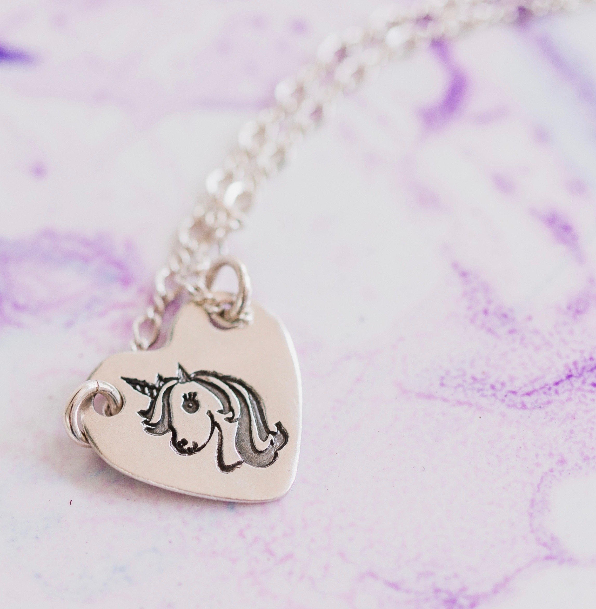 Unicorn Sterling Silver Heart Charm Pendant Necklace Jewelry Gift for Little Girl