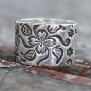 Flower Silver Wedding Band