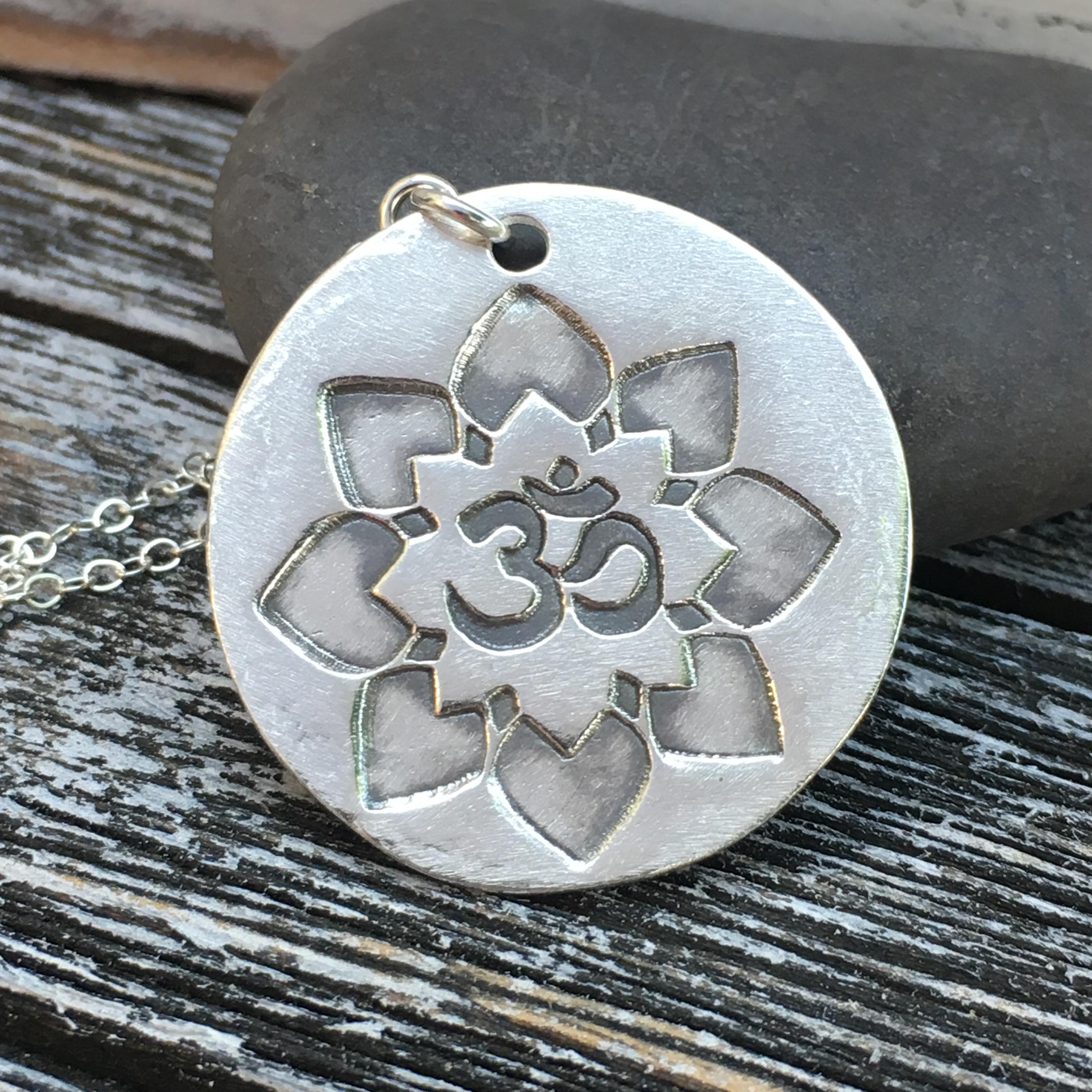 Ohm Symbol Lotus Flower Silver Pendant Women Yoga Jewelry