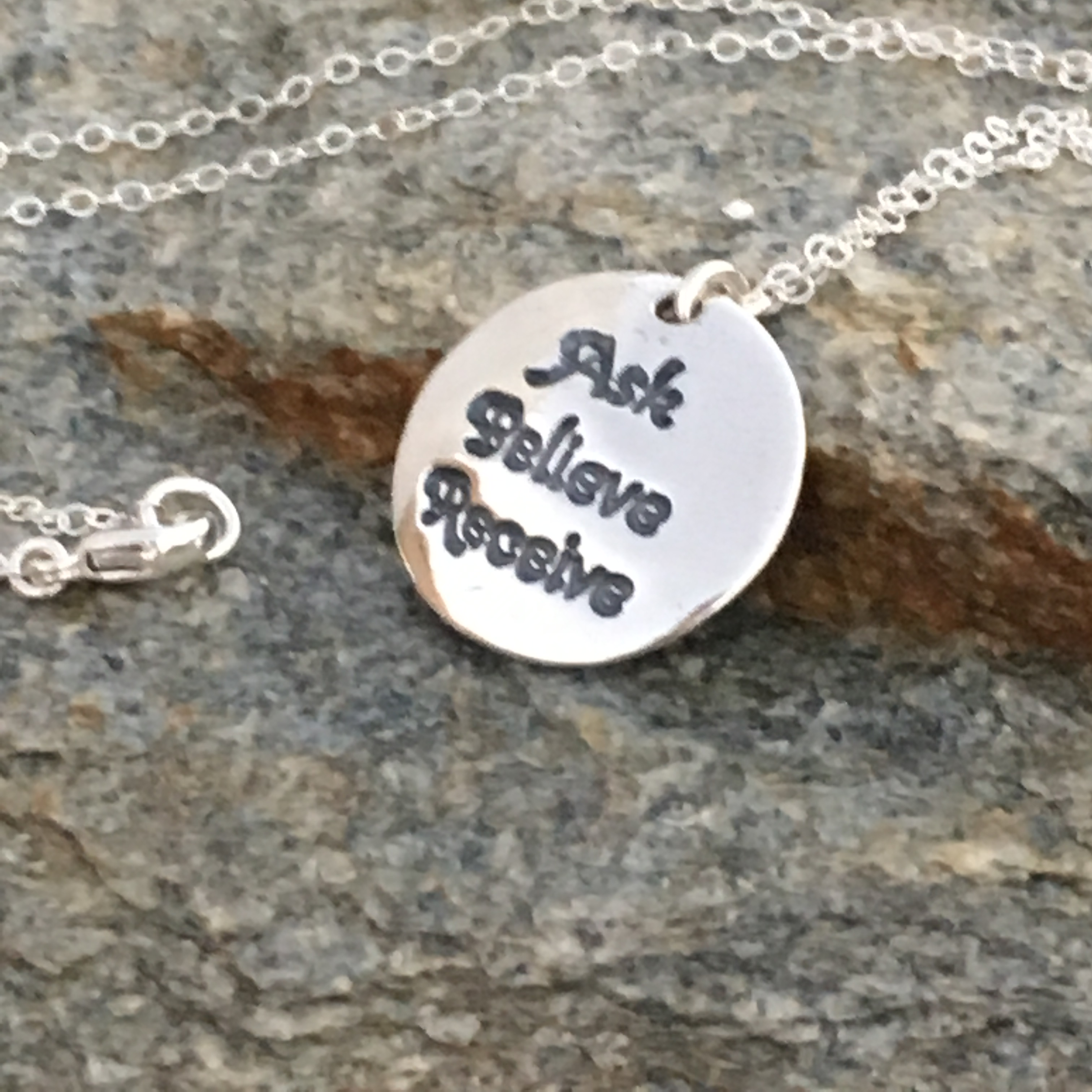 Ask Believe Receive Sterling Silver Round Charm Pendant Necklace Jewelry Gift for women