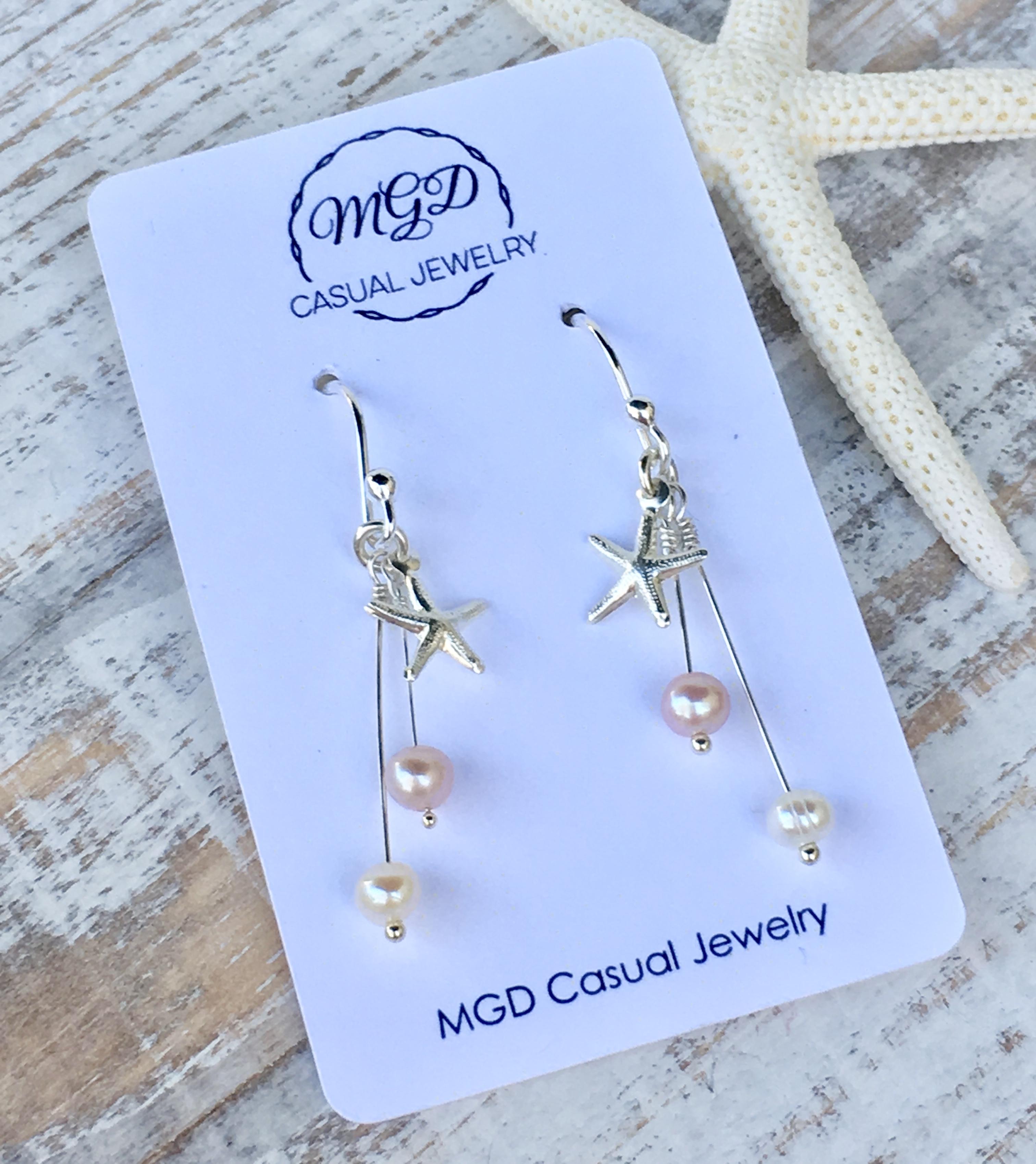 White Freshwater Pearls Long Hook Earrings