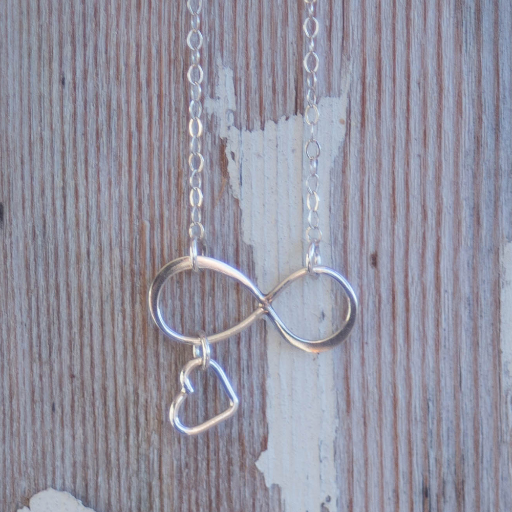 Infinity Symbol Sterling Silver Charm Necklace Anniversary Gift for Wife – 46 centimeters