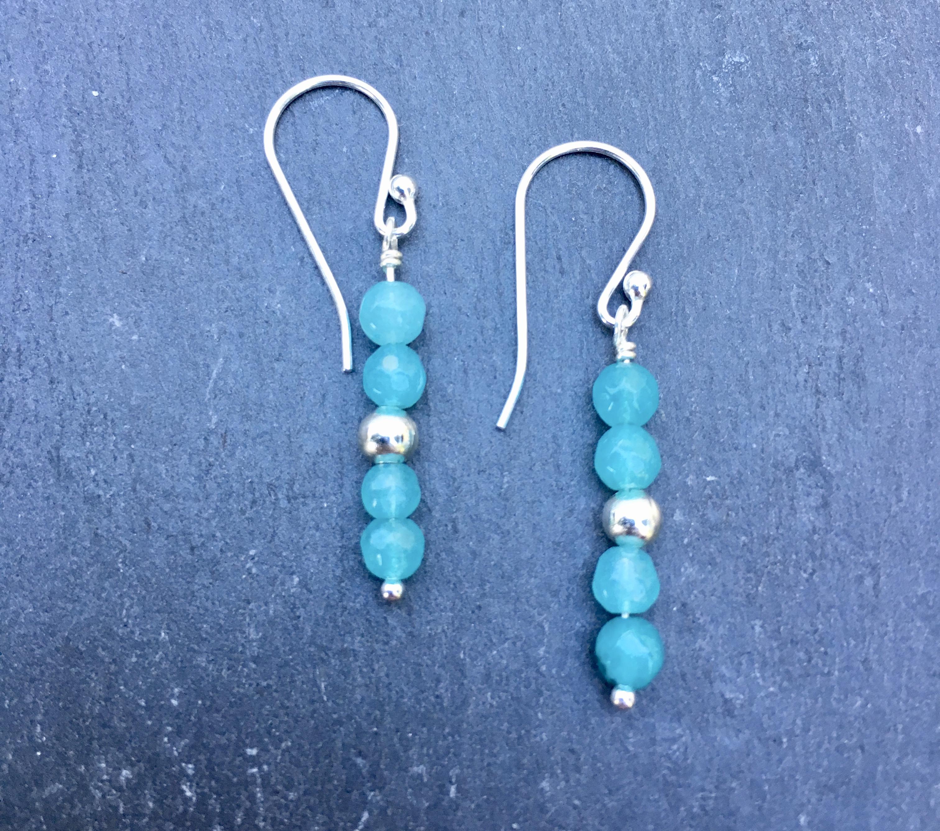 Aqua Blue Angelite Gemstone Sterling Silver Earrings