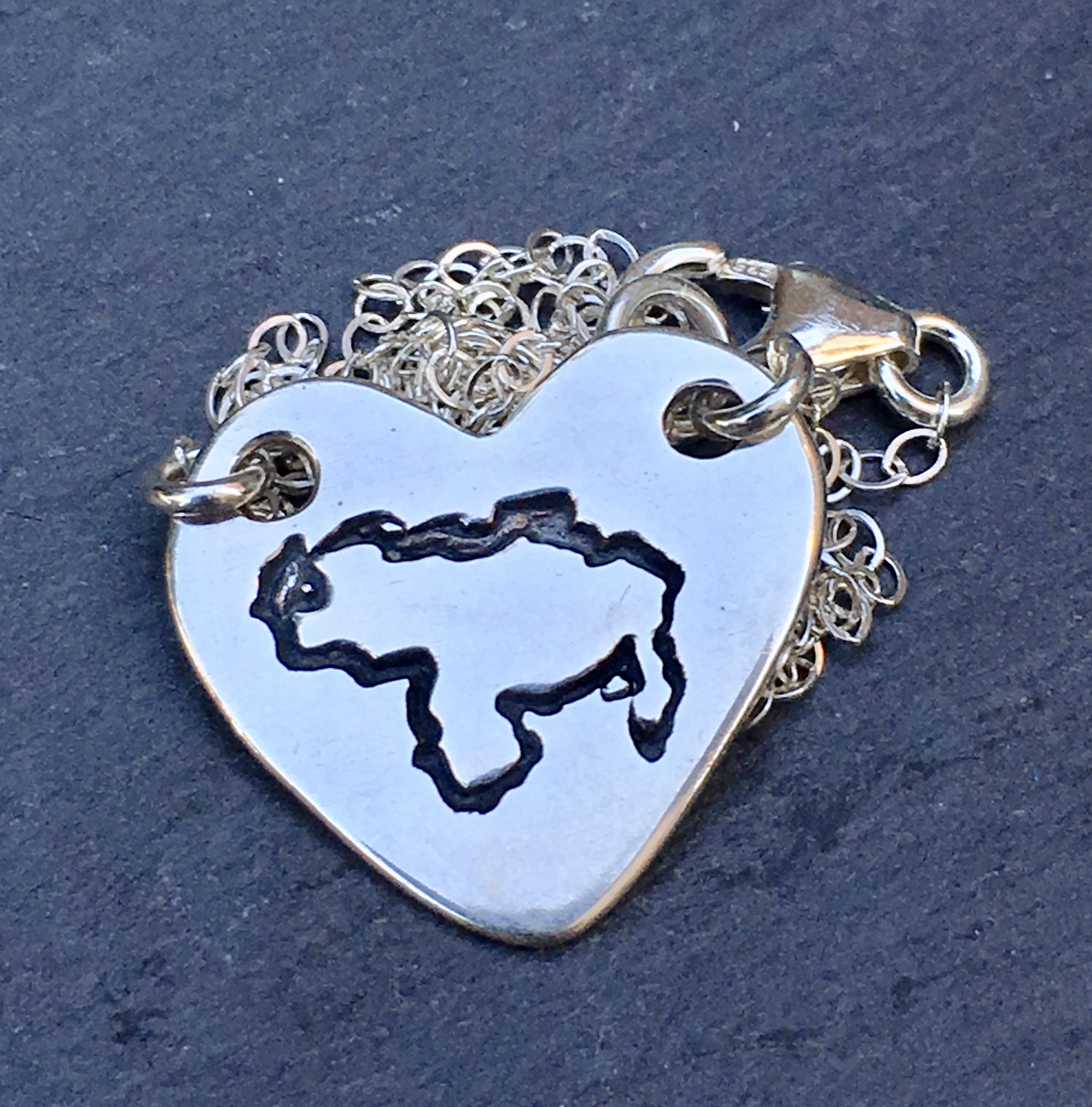 Venezuela Map Sterling Silver Necklace for venezuelan women