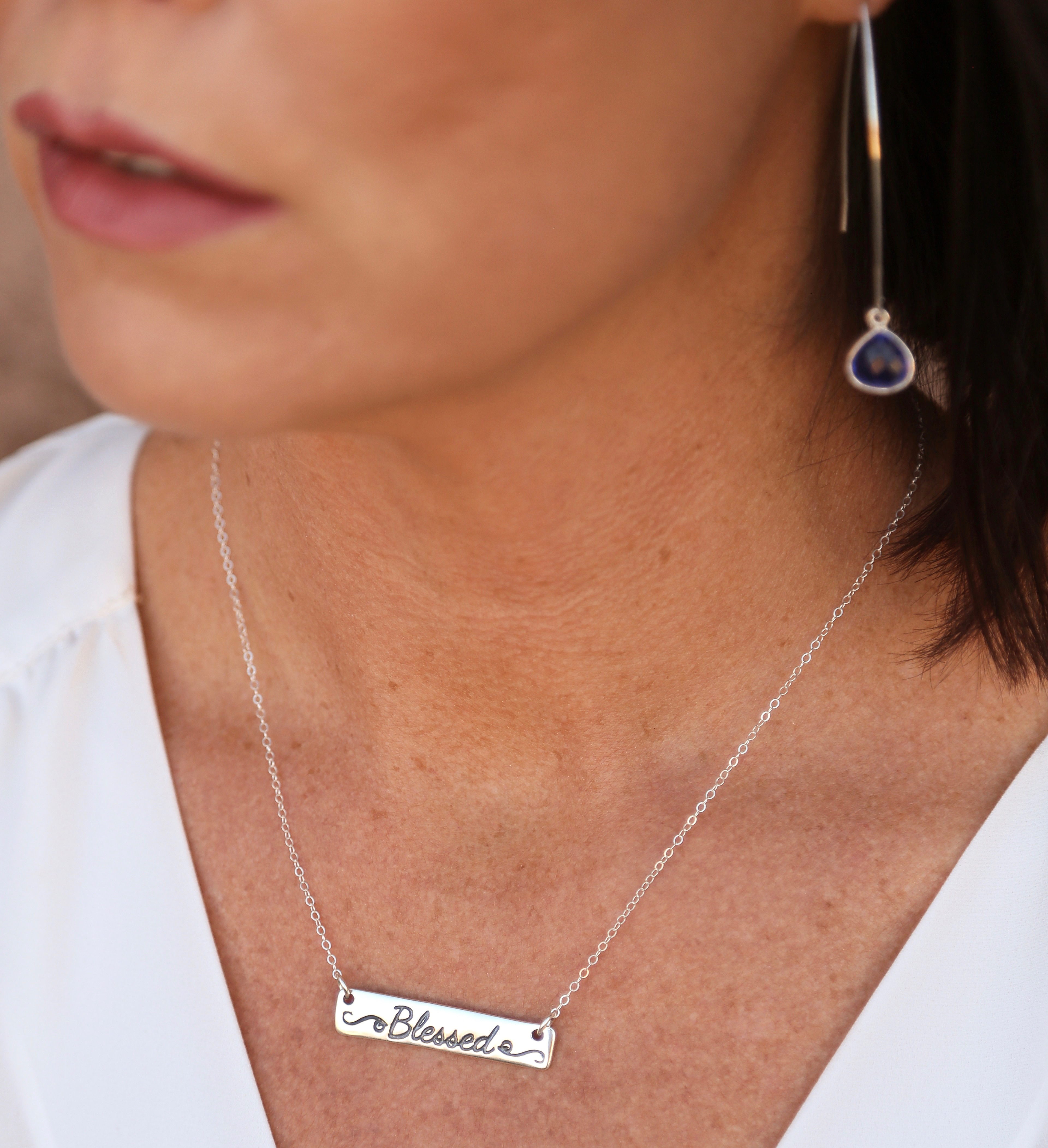 Blessed Christian Sterling Silver Bar Necklace Jewelry Gift Idea For Women
