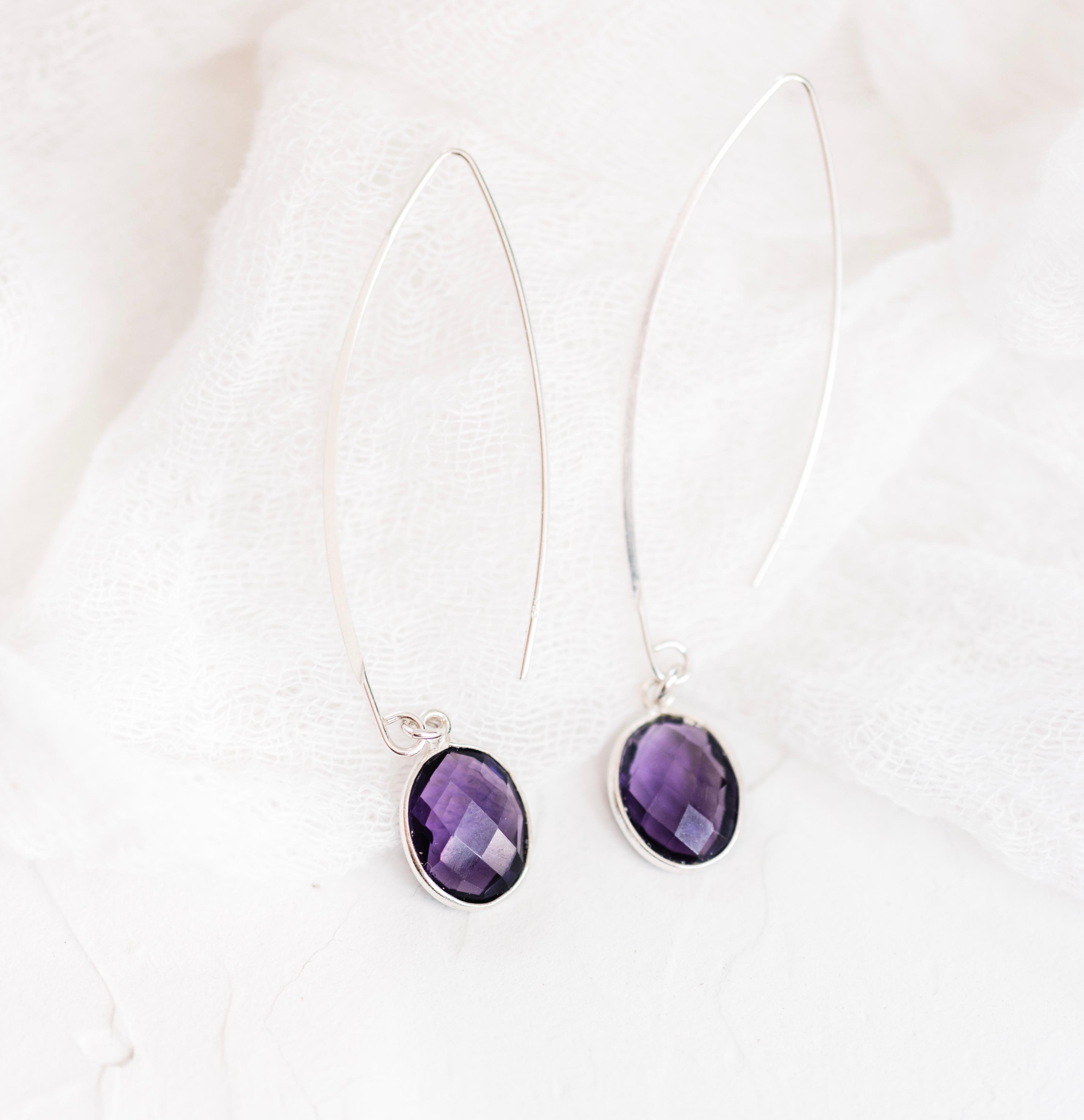 Amethyst Quartz Sterling Silver Threader Earrings